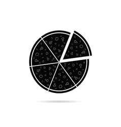 pizza black icon vector image