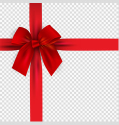 realistic 3d red bow and ribbon isolated on vector image