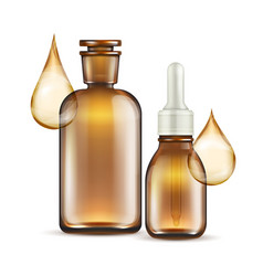 Realistic brown glass bottles for oil cosmetics vector