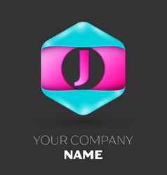 Realistic letter j logo in colorful hexagonal vector