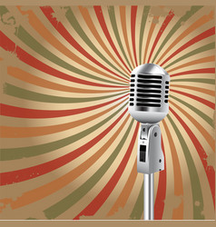 Retro microphone rays background vector