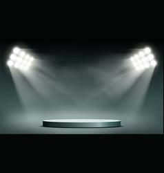 round podium illuminated by searchlights vector image