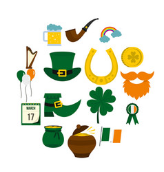 saint patrick icons set in flat style vector image