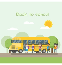 School bus and children vector
