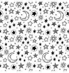 seamless hand drawn stars starry sky sketch vector image