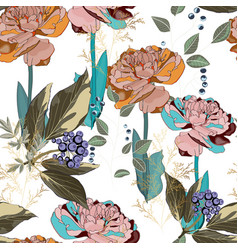 Seamless pattern with blue berries branch vector