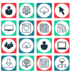 Set of 16 web icons includes followed website vector