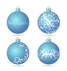 Set of Blue Christmas balls on white background vector image