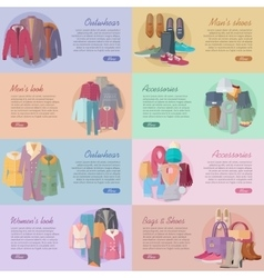 Set of Clothing Shoes Accessories Look Banners vector