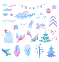 set winter items vector image