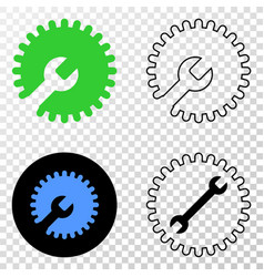 settings gear eps icon with contour version vector image