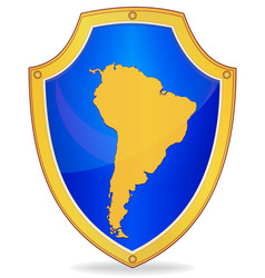 Shield with silhouette of south america vector