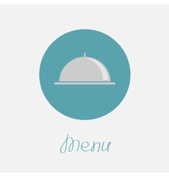 Silver platter cloche circle icon Flat design Menu vector image
