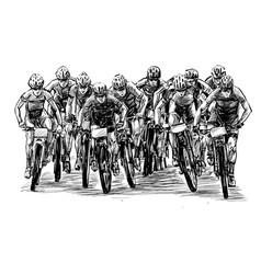sketch mountain bike competition show hand draw vector image
