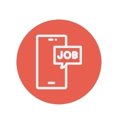 Smartphone with word job in a box thin line icon vector