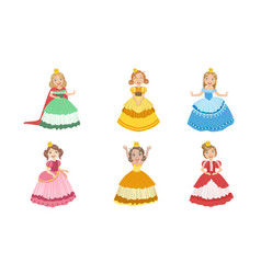 Smiling girls princesses chracters in different vector