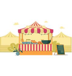 Street food tent at city fair bright cartoon vector