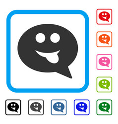 Tongue smiley message framed icon vector