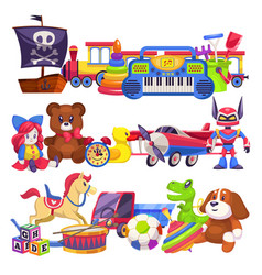 Toy piles cute colourful kid toys pile with car vector