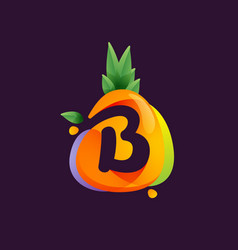 Vivid pineapple fruit with letter b negative vector