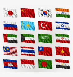 Waving flags asian countries vector
