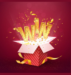 win gold text flies out of the red gift box vector image