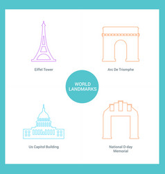 world famous landmarks and monuments design with vector image