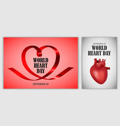 World heart day world banner set realistic style vector