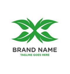 x leaf letter logo template vector image