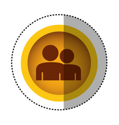 yellow round symbol people together contact icon vector image
