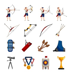 Archery Flat Icons Set vector image