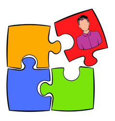 businessman in a puzzle piece icon cartoon vector image