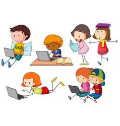 children working on computer laptop vector image vector image