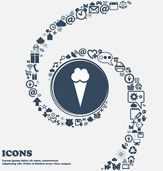 Ice Cream icon in the center Around the many vector image