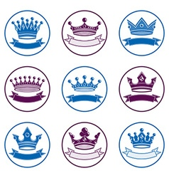 Stylized royal 3d design elements set of king vector