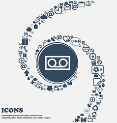 audio cassette icon sign in the center Around the vector image