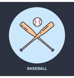 Baseball softball line icon Bats and ball vector image
