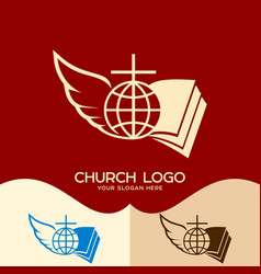 cross of jesus open bible globe and angel wing vector image vector image