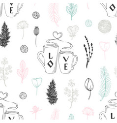Pastel seamless pattern with hand drawn two cups vector