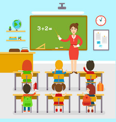 school classroom with teacher and pupils vector image vector image