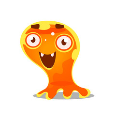 funny cartoon friendly slimy monster cute bright vector image vector image