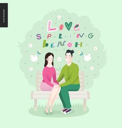 love spring bench lettering and a couple in love vector image