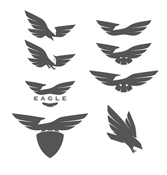 Set of negative space emblems with eagles vector image vector image