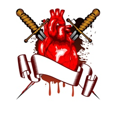 heart and daggers vector image vector image