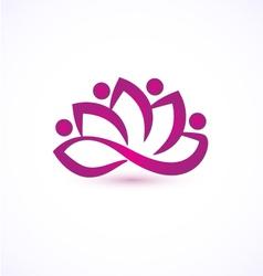 Purple lotus flower logo vector image