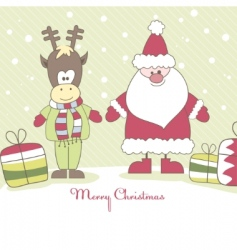 santa reindeer and gift illustration vector image