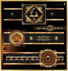 vintage black gold frame label vector image