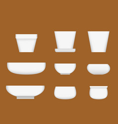 white ceramic bowl in realistic style vector image vector image