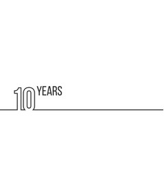 10 years anniversary or birthday linear outline vector