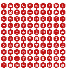 100 gift icons hexagon red vector